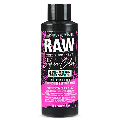RAW Fuchsia Fatale Demi-Permanent Hair Color, Vegan, Free from Ammonia, Paraben & PPD, lasts over 45 washes, 4oz