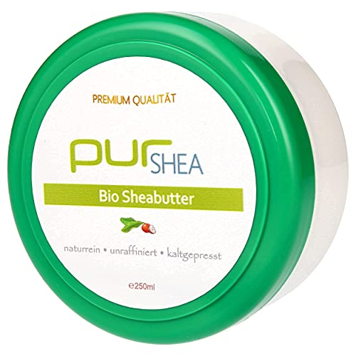 purSHEA - (250ml) Sheabutter Bio Für Kosmetik Unraffiniert Kaltgepresst- Shea Butter Ohne Zusätze Vegan Parfümfrei- 100% Bio-Sheabutter Rein und Naturbelassen - Premium Qualität (A+)