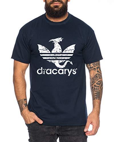 Dracarys - Camiseta de Hombre Targaryen Thrones Game of Stark Lannister Baratheon Daenerys Khaleesi TV BLU-Ray DVD, Farbe2:Azul Oscuro, Größe2:Medium