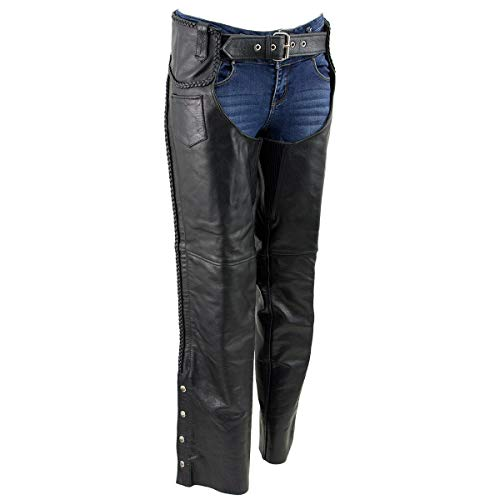 Xelement B7556 Womens Black 'Braided' Zippered Leather Chaps - 16
