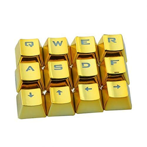 juqingshanghang1 12pcs / Set Keycaps PET-Galvanisierungs-Gaming-Tastatur Schlüsselkappen Ersatztaste Set Geeignet für Computerperipheriegeräte (Color : Golden)