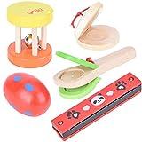 Castañuelas de armónica de campana de mano de 5 piezas, juguetes para instrumentos musicales seguros para bebés juguetes educativos preescolares para niños pequeños