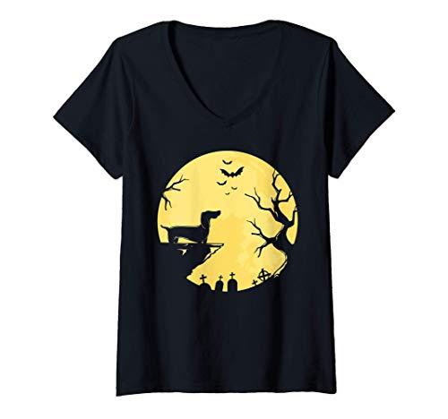 Mujer Dachshund Moon Halloween Viena Perro Mascota Cachorro Animal Camiseta Cuello V