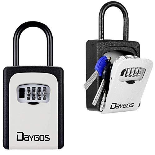 Key Lock Box for Outside - Wall Mounted Key Safe Box for House Keys Weatherproof 4-Digit Combination Lockbox for Home,Office,Hotel,Airbnb,School Spare Keys(6 Keys Capacity)