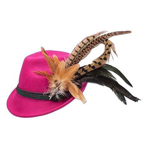 Alpenflüstern Alpenflüstern Filzhut Trachtenhut Fasanenfeder (pink-fuchsia) ADV028