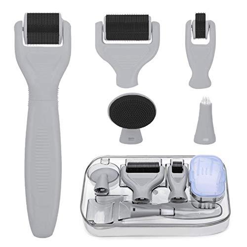 Derma Roller, Derma Roller Kit 6 en 1 sistema de microagujas por Youth Stream para reducir arrugas, daños al sol, manchas oscuras, cicatrices, celulitis, estrías para usar en cara, ojos, cuerpo