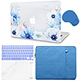 LuvCase 5 in 1 Laptop Case Compatible withMacBookAir 11' A1465 / A1370 HardShellCover, Sleeve, Mouse Pad, Keyboard Cover, Screen Protector(Blue and White Poppy)