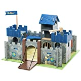 Le Toy Van - Castles Collection Wooden Toy Educational Excalibur Knights Castle | Kids Wooden Castle Playset Model Castle For Boys, Blue Excalibur Castle (TV235)