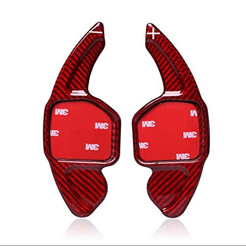 Topsmart Carbon Fiber Car Steering Wheel Shift Blade Paddle Shifter Extension Compatible For Audi A3 A4L A7 Q5 A5 A6L S6 S7 SQ5 Q3 Q5 Q7 RS3 RS6 R8 TT TTS (Red)