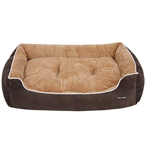 FEANDREA Kuscheliges XXL Luxus Hundebett mit weichem abnehmbarem Kissen, für große Hunde, 110 x 27 x 75 cm, Braun, Beige PGW07YC