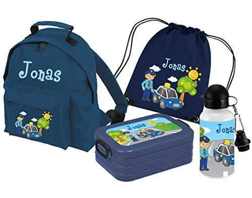 Mein Zwergenland   Personalisertes Kindergartenrucksack-Set   Kinderrucksack Classic mit Name   Lunchbox Maxi mit Name   Turnbeutel mit Name   Personalisierte Trinkflasche   Navy   Polizei