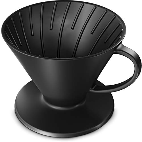 Pour Over Coffee Dripper – All Natural Super Ceramic Design Fully Extracts Intricate Flavors   Reusable Coffee Drip Filter Cone Fits All Coffee Cups & Mugs   Travel Size   Lasts a Lifetime