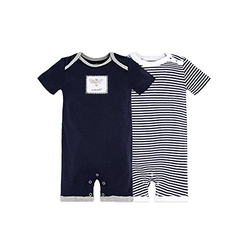 Burt's Bees Baby Baby Boys' Short Sleeve Rompers 2-Pack, 100% Organic Cotton One-Piece Coverall, Midnight Honey Bee, 12 Months