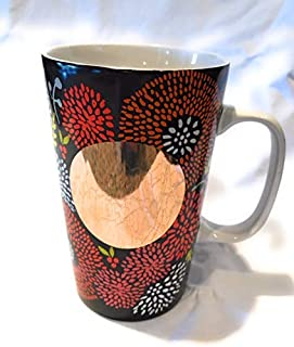 Starbucks 2014 Dot Collection Red and Brown Floral With Gold Dot Ceramic Mug 16 oz