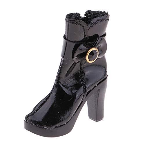 sharprepublic 1: 6 Damen 1.6cm High Heel Stiefeletten Schuhe Für 12 '' Phicen Actionfiguren - Schwarz
