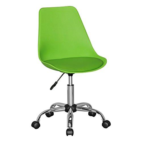 Amstyle Korsika, Drehstuhl mit Kunstleder-Sitzfläche, Design Drehsessel Wartezimmerstuhl ist höhenverstellbar, Schreibtischstuhl mit Rückenlehne, Bürostuhl/ Jugendstuhl mit Schalensitz grün
