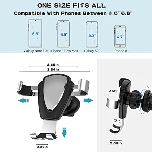 Car Phone Holder Mount Vent Clip Upgraded Gravity Hands Free Easy Clamp Air Vent Cell Phone Holder Cradle Compatible with All Mobile Smartphone