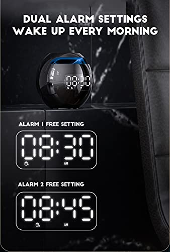 Digital Alarm Clock for Kids, Multifunctional Bass Bluetooth Portable Bluetooth Wireless Speaker with Radio Alarm Clock,7 Color LED Display FM Clock Radio,Easy to Set,USB Charger for Bedroom,Outdoor