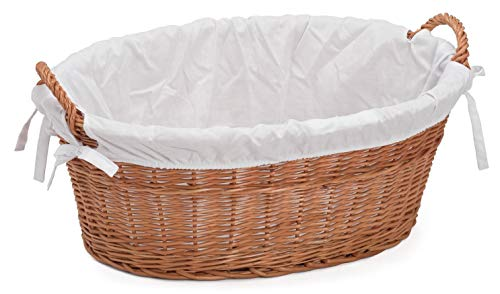 Prestige Wicker Laundry Basket Lined, Willow, Natural, 60x43x23 cm