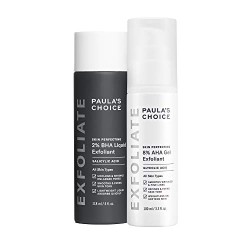 Paula's Choice-SKIN PERFECTING 8% AHA Gel Exfoliant & 2% BHA Liquid Duo-Facial Exfoliants for Blackheads Enlarged Pores Wrinkles and Fine Lines Face Exfoliators w/ Glycolic Acid Salicylic Acid