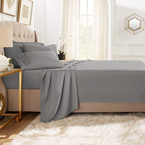 Clara Clark Premier 1800 Collection Bed Sheet Set with Extra Pillowcases Wrinkle, Fade & Stain Resistant, Flex-Top King, Charcoal Gray