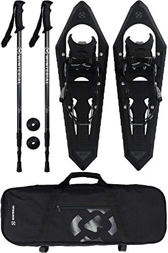Winterial Onyx Premium Snowshoes 25 Inch Mountain Terrain Black Snow Shoes