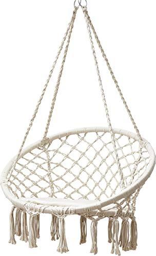 GRASEKAMP Qualität seit 1972 Hängesessel zum Aufhängen mit rundem Sitzkissen Beige Belastbarkeit max. 100 kg Schwebesessel