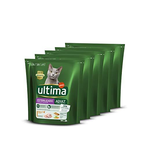 ultima Pienso para Gatos Esterilizados Adultos con Pollo, Pack de 5 x 800gr - Total: 4 kg