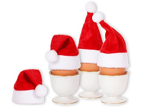 Alsino Mini Weihnachtsmütze kleine Nikolausmützen (wm-133) - 4 Stück - Eierwärmer für Stuhlecken, Eier & Flaschen - Weihnachten Deko Tisch (4 Stück)