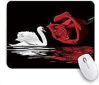 KAPANOUマウスパッド 白鳥白鳥とロマンチックな愛赤いバラの花水の反射バレンタインデーの恋人 ゲーミング オフィ良い 滑り止めゴム底 ゲーミングなど適用 マウス 用ノートブックコンピュータマウスマット