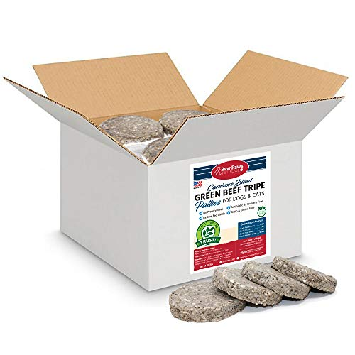 Raw Paws Frozen Raw Green Beef Tripe for Dogs & Cats, 4-oz Patties, 20-lbs - Made in USA - Free-Range, Antibiotic-Free, All-Natural Raw Green Tripe Dog Food - Green Tripe for Dogs Frozen