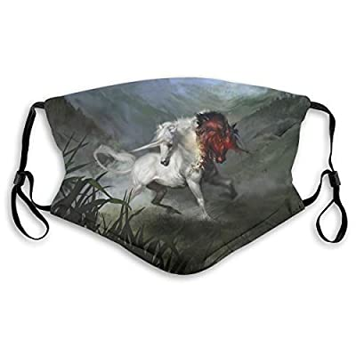 HOTBABYS Unicorn Art Reusable Activated Carbon Filter Face Covering with Replaceable Filter for Men Women S
