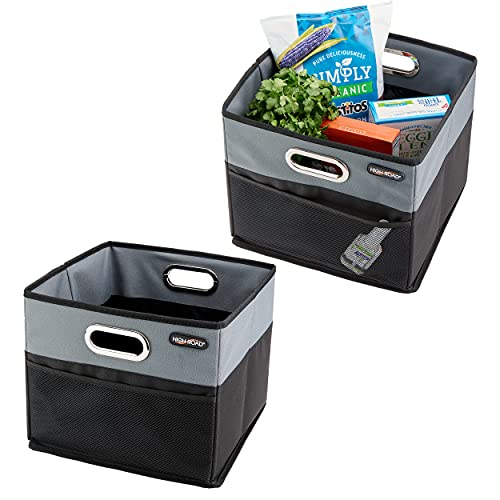 High Road CargoCube Trunk Organizer Car Storage Bins with Leakproof Liner - set of 2 (Black/Gray)