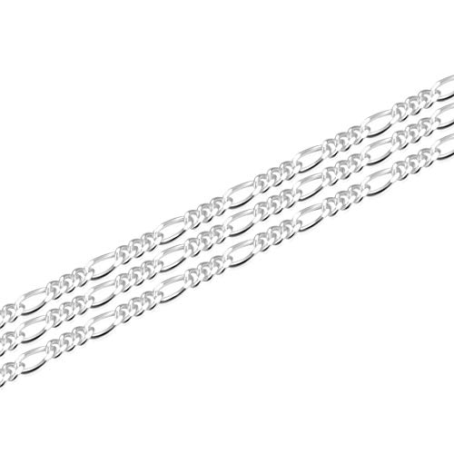 Adabele 5 Feet (60 Inch) Genuine 925 Sterling Silver Unfinished 1.3mm Thin Light Weight Figaro Chain for Jewelry Craft Making - Nickel Free Hypoallergenic SSK-B1