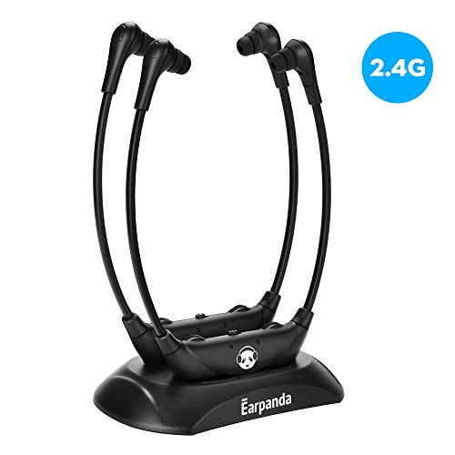 Earpanda Dual Wireless TV Headphones for Seniors and Hard of Hearing,Wireless Headphones for Digital&Analog TV,TV Headset with Bass-Treble Adjustment and Internal Microphone for Hearing Impaired