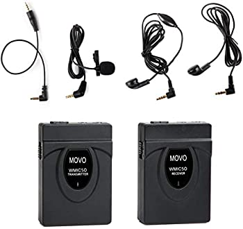Movo WMIC50 2.4GHz Wireless Lavalier Microphone System with Integrated 164-foot Range Antenna  Includes Transmitter with Belt Clip Receiver with Camera Shoe Lapel Mic and 2 Earphones