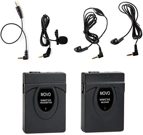 Movo WMIC50 2.4GHz Wireless Lavalier Microphone System with Integrated 164-foot Range Antenna (Includes Transmitter with Belt Clip, Receiver with Camera Shoe, Lapel Mic and 2 Earphones)