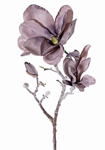 artplants.de Künstlicher Magnolienzweig SIMKA, Frost Optik, grau - lila, 60cm - Deko Zweig - Magnolia künstlich