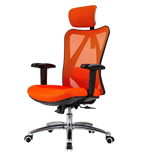 Video Game Chair,Rotating Ergonomic Computer Chair,Ergonomic Back Chair Swivel Chair Boss Chair Waist Support Office Chair Sports Seat Loading 200Kg,Orange,64 70 107cm with Backrest