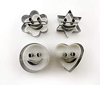 Baking Mold 4Pcs/Set Smiley Face Chocolate Molds Cookie Cutter Set Baking Mould Tools(Silver)