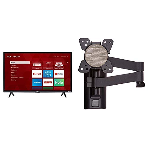 TCL 32S327 32-Inch 1080p Roku Smart LED TV (2018 Model) & Amazon Basics Heavy-Duty, Full Motion Articulating TV Wall Mount for 12-inch to 39-inch LED, LCD, Flat Screen TVs