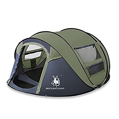 HUI LINGYANG Outdoor Instant 4-Person Pop Up Dome Tent - Easy, Automatic Setup -Ideal Shelter for Casual Family Camping Hiking, Amy Green