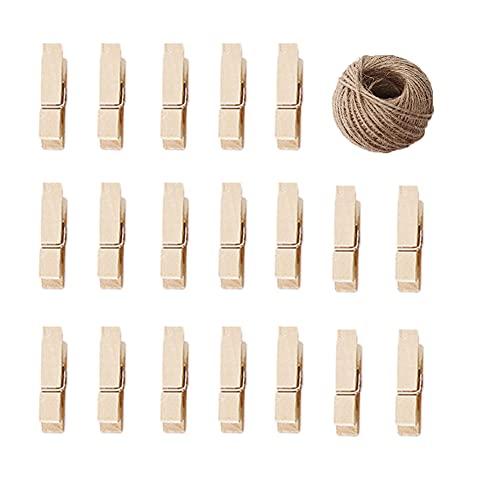 100 pinzas de madera de abedul para papel fotográfico, rodillos, manualidades, manualidades