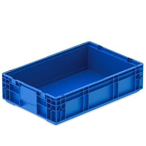 VDA-RL-KLT 6147, 600 x 400 x 147 mm, Kleinladungsträger mit Ablauflöchern, Stapelbehälter, Transportbox Industrie, 1 St, Blau