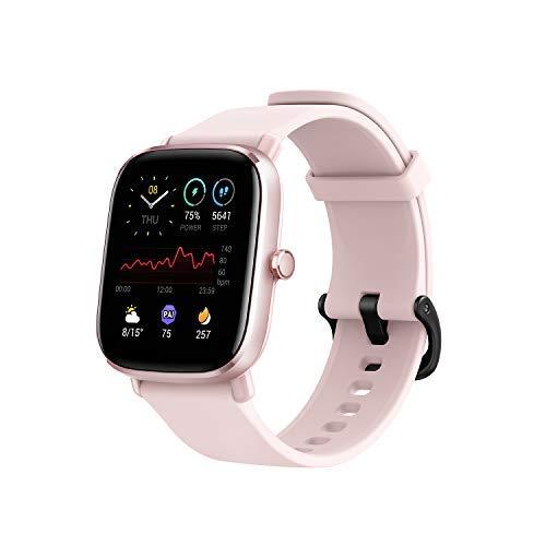 Amazfit GTS 2 Mini-Smartwatch, Fitness, Batterielebensdauer von 14 Tagen über 70 Sportmodi, Messung des SpO2-Levels, Überwachung der Herzfrequenz, Schlaf und Stress (Pink)