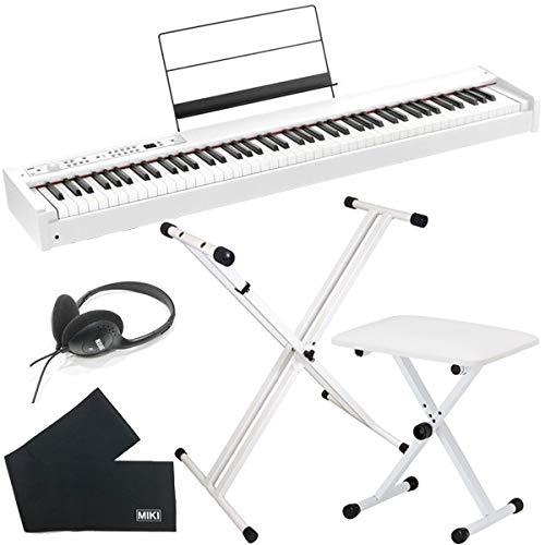 KORG 電子ピアノ D1 WH ホワイト (88鍵) + 折りたたみスタンド + ピアノ椅子 + ヘッドホン + 鍵盤カバー セット