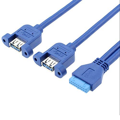 20pin a USB3.0 doble cabeza hembra con cable de datos de oído se puede instalar en el panel de la computadora