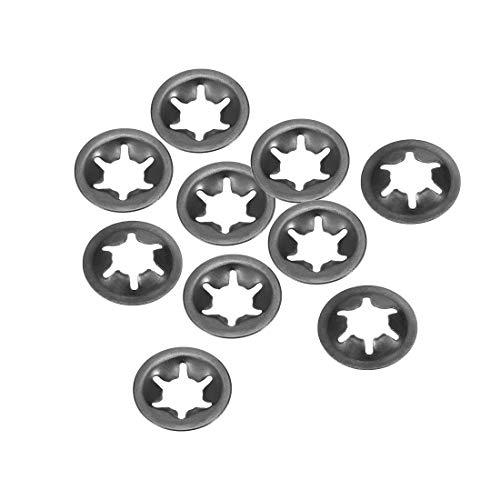 sourcing map M12 Starlock Unterlegscheiben, 11,2 mm Innendurchmesser, 25 mm Außendurchmesser, interne Zahnsicherungsscheiben, Push-On-Verriegelung, Speed-Clip, 65 Mn, schwarzes Oxid-Finish, 10 Stück