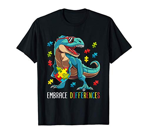 Dinosaur Puzzle Piece Autism Awareness T-Shirt