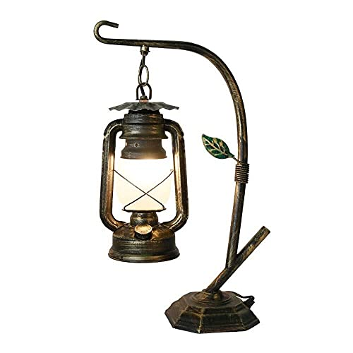 HtapsG Lámpara Escritorio Lámpara Retro Linterna lámpara de Queroseno Antigua lámpara de Aceite lámpara de mesita de Noche Dormitorio con un Estudio 28 cm * 46 cm (Color : Gold)